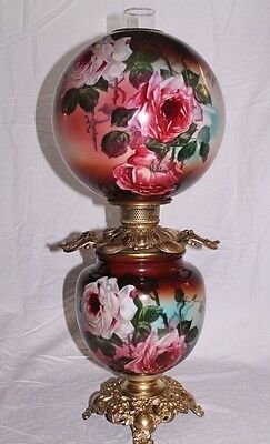 """RARE Hand Painted Gone with the Wind Oil Lamp W/ ROSES (12"""" Shade GWTW Banquet )"""