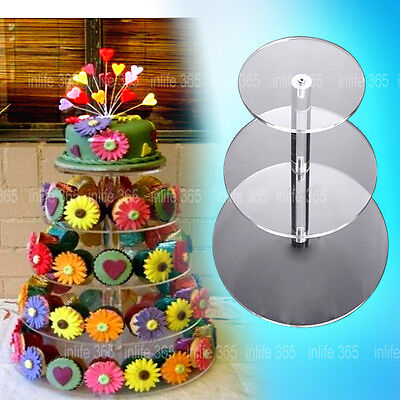 3/4/5/6 Tier Clear Acrylic Round Cupcake Cake Stand Party Birthday Wedding NEW