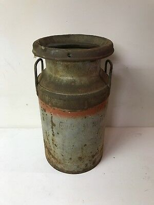 Antique Rare Size Embossed Central Illinois Dairy Metal Milk Can w/ Lid Farm