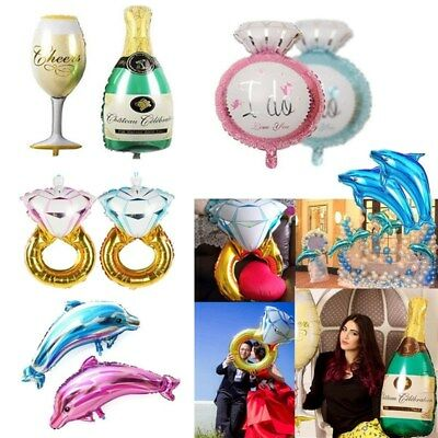 2Pcs Diamond Ring Dolphin Foil Balloons Birthday Wedding Party Decoration