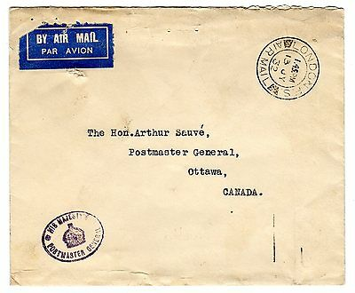 1932 GB to Canada Sea/Airmail Ottawa Conference Official Unusual Stampless Cover