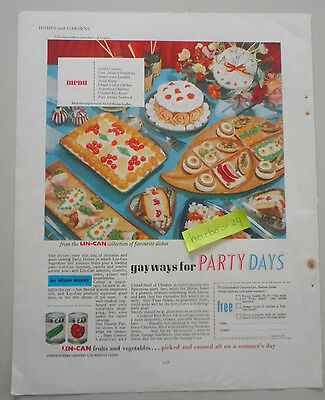 GAY WAYS for Party Days full page vintage color advertisement  Lin-Can foods