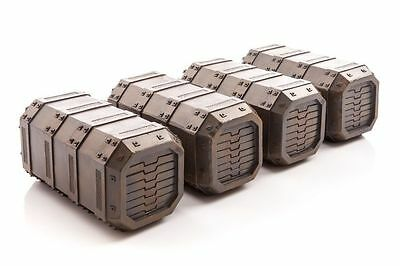 40K, 30K, Horus Heresy 28mm Terrain Gamemat Industrial Containers (4) – Painted