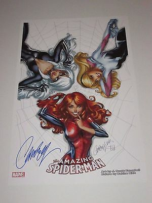 2017 SDCC AMAZING SPIDERMAN ART PRINT #2 SIGNED BY J SCOTT CAMPBELL 11x17