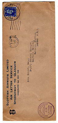 1945 GB/Scotland Air Letter Service Rare First Flight Cover.