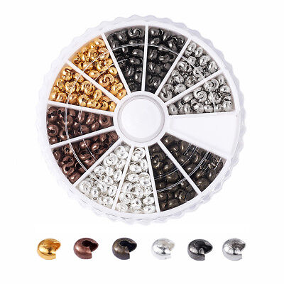 590pcs/Box Iron Crimp Bead Covers 6 Color Smooth Half Round Nickle Free Tips 3mm