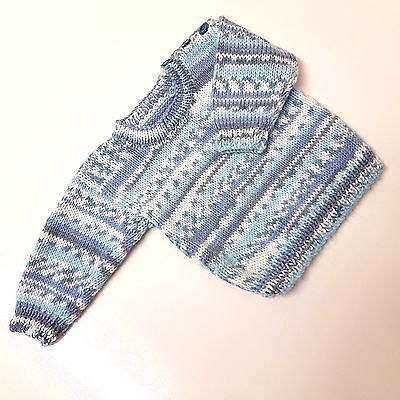 Hand Made Gorgeous Baby Boys 0-3 Months Blue White Pattern Knit Sweater Jumper