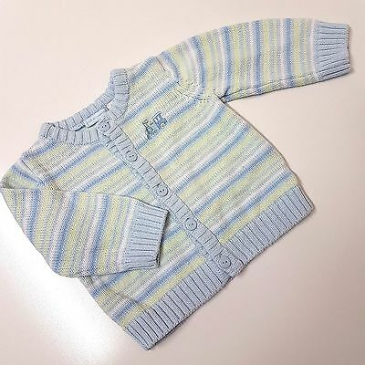First Impressions Baby Boys 0-3 Months Blue Green Srtiped Knit Cardigan Jumper