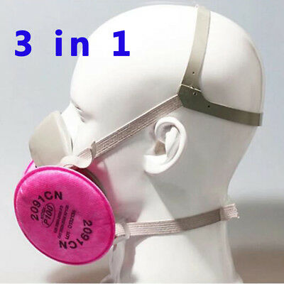 US 3M 6200 2901 Half Face Dust Mask &Filters Respirator Spray Painting For 3in 1