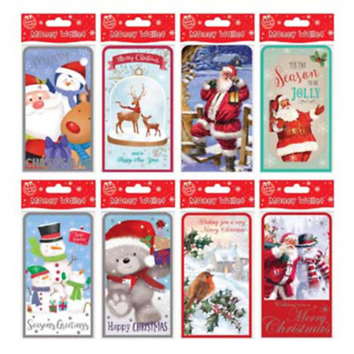 LUXURY CHRISTMAS MONEY WALLETS X 40 JUST 18p! 8 DESIGNS, WRAPPED - FOILED,(1565