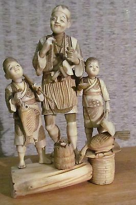 hand carved ivory colored figures #2, signed