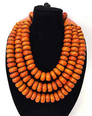 Tribal Ethnic Vintage Large Moroccan Berber Amber Resin 3 Strand Bib Necklace