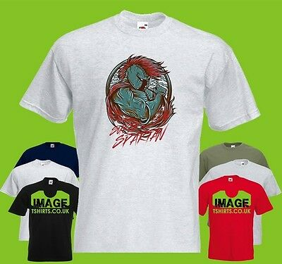 Super Spartan Mens PRINTED T-SHIRT Art Fighter Warrior Helmet Gauntlet Cape