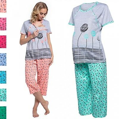 Happy Mama. Women's Maternity Top T-shirt Breastfeeding Pyjamas Crop Pants. 076p