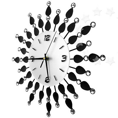 36cm Promotion Black Diamante Beaded Jeweled Spike Silver Black Gift Wall Clock
