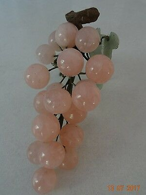 Chinese Rose Quartz carved bunch of grapes