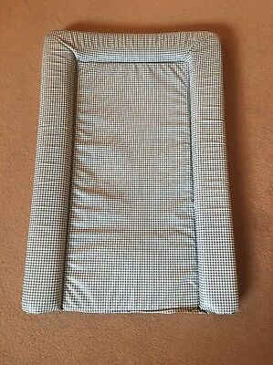 Blue and White Checked Baby Change Mat
