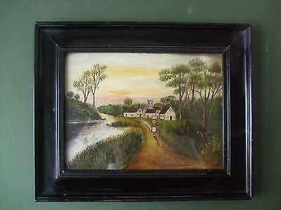Original Antique Naive Primitive English Signed Oil Painting with Frame