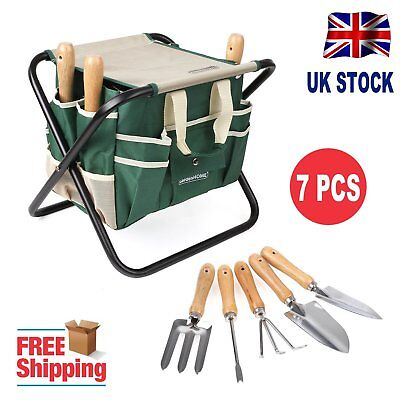 Garden Tool Bag Seat Set W/ Folding Storage Stool Gardening 7 Pieces Toolbag UK