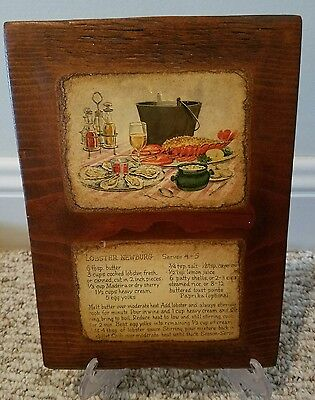 Vintage Lobster Newburg Recipe Wooden Wall Plaque