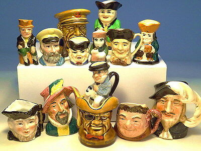 Collection of 14 Assorted Miniature Toby Jugs VGC (WH_0849)