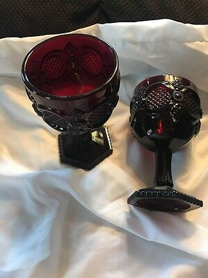 "2. Avon Ruby Red Wine Glass's. 6"" Tall."