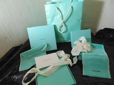 Tiffany &co. Two Gift Boxes With Ribbon,dust Cover And Carry Bag