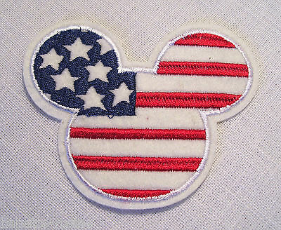 ÉCUSSON PATCH thermocollant ** 9 x 8 cm ** TÊTE SOURIS MICKEY DRAPEAU USA