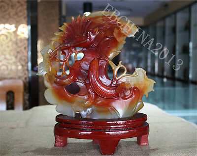 "10"" Chinese 100% Natural Agate Jade Hand-carved Bird Tree Statue Sculpture"