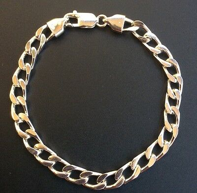 New Curb Link Men's Bracelet Genuine Solid 925 Sterling Silver