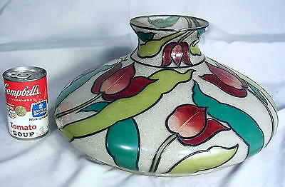 "EYE POPPING 14"" HANDEL Chipped Ice Enameled Hand Painted TULIPS Lamp Shade EX"