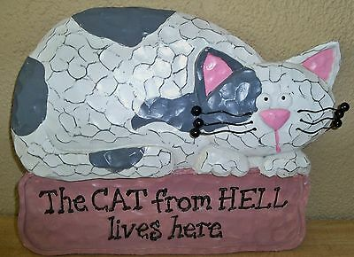 (H) The Cat From Hell Lives Here - Wall Plaque