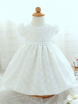 Wendy White Christening Baptism Girl Gown Formal Dress Wedding Baby Shower Gift
