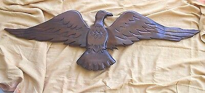 "Antique Primitive Wood Hand Carved American Eagle 48"" Wide Plaque"