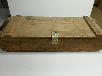 Vintage US ARMY MILITARY WOOD AMMO BOX for MORTAR/CANNON SHELLS