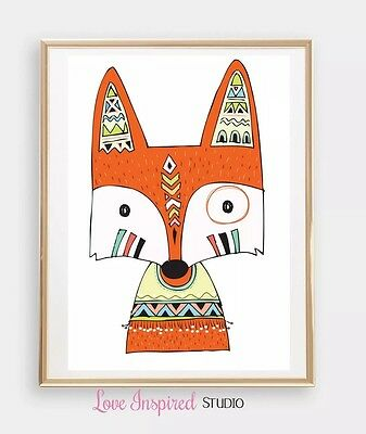 "Kids Nursery Room Boys / Girls Wall Art  8""x10"" Mr Fox Print Room Decor"