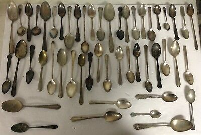 Lot 50 Vintage Silver Plated Spoons Different Patterns QB02