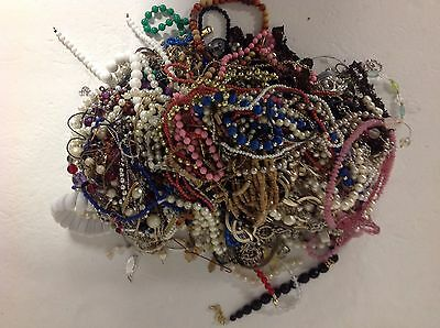 Huge Lot of 10.8 LBS Costume Jewelry Beads Crafts Earring Parts Findings 111A