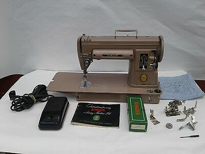 Vintage Singer 301A Sewing Machine With Manual And Attachments Works Great 1951