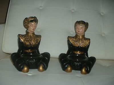 Mid Century Asian Antique Chalkware Statues Ash Trays Oriental Man Woman Buddhas