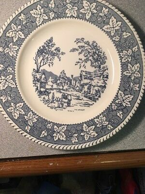 """Shakespeare Country Blue 10"""" Dinner Plate Homer Laughlin Stratwood Collection S"""