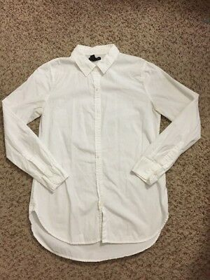 Lot Of 3 Women's Gap White Boyfriend Fit Collared Button Down Shirts Sz Xs