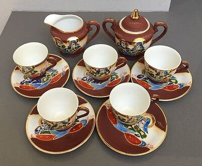 Takito Satsuma Moriage Hand Painted Japanese Tea Set 13 pc