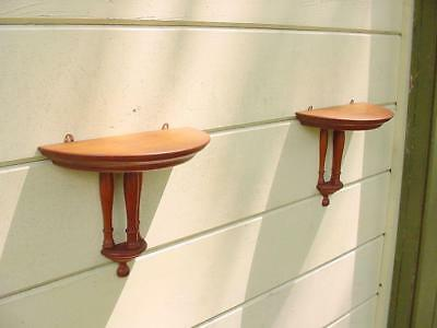 Pair Antique Turned Maple Wall Bracket Shelves Turned Column Demi Lune BEAUTIFUL