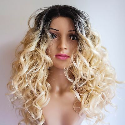"""Synthetic Dark Brown Blonde Ombre Curly Wig 18"""""""