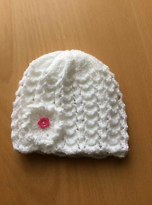 White Baby  Girl's Hand Knitted Hat, new, ,0-3 mths