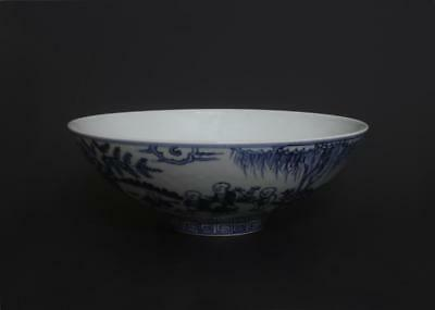 Superb Antique Chinese Porcelain Blue And White Bowl Yongle Marked-Figure s303