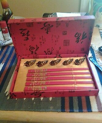 Set Of 5 Chinese Chopsticks And Holders