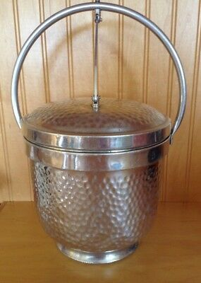Vintage Hammered Aluminum Ice Bucket Hinged. Lid Made In Italy B-501