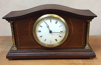 "French Inlaid Mahogany Case Platform Movement Timepiece Mantle Clock 10""L 6""H"